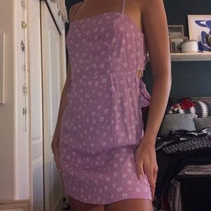 PURPLE AND WHITE FLOWERS TIE BACK DRESS